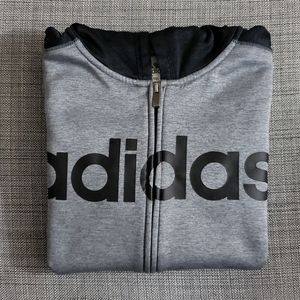 Adidas gray and black zipup hoodie youth size L